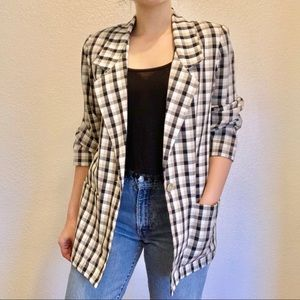 Jackets & Blazers - Vintage Checked Plaid Summer Blazer